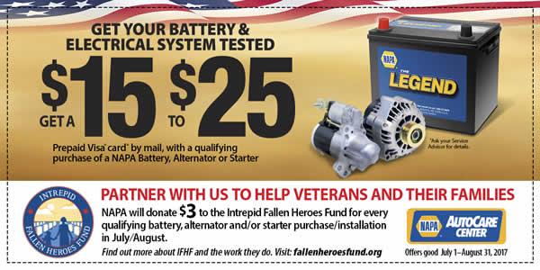 Coupon - $15-$25 back on batteries, alternators, starters