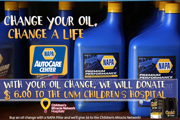 Change your oil, change a life at your NAPA AutoCare Center