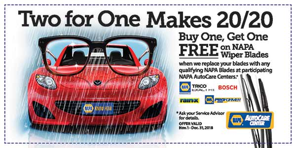 Buy one wiper blade, get one free