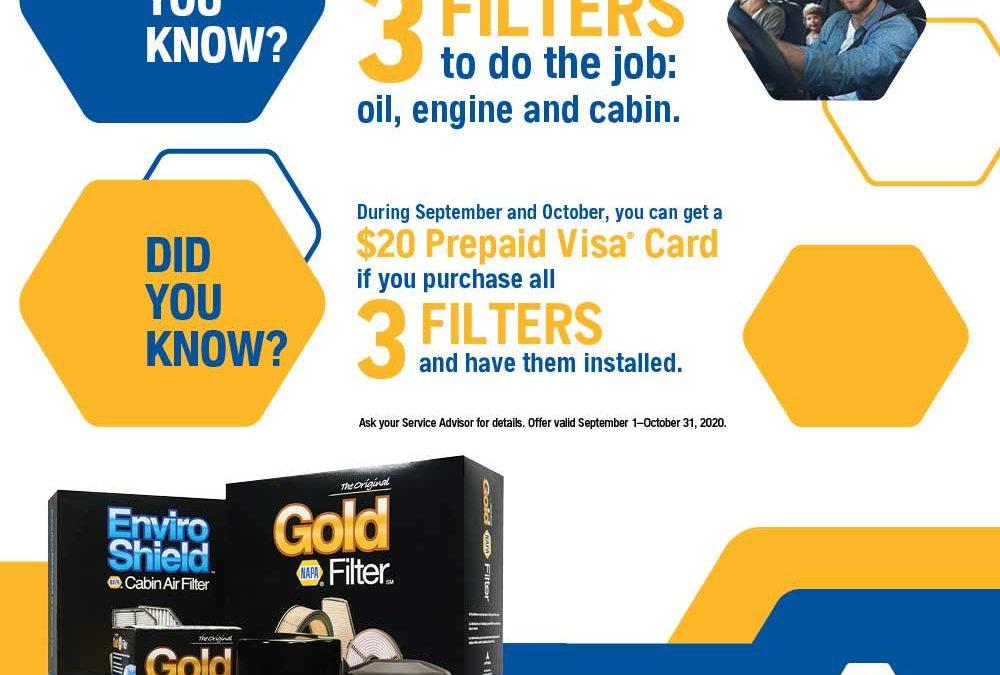 Cabin Filter, Oil Filter, Engine Air Filter