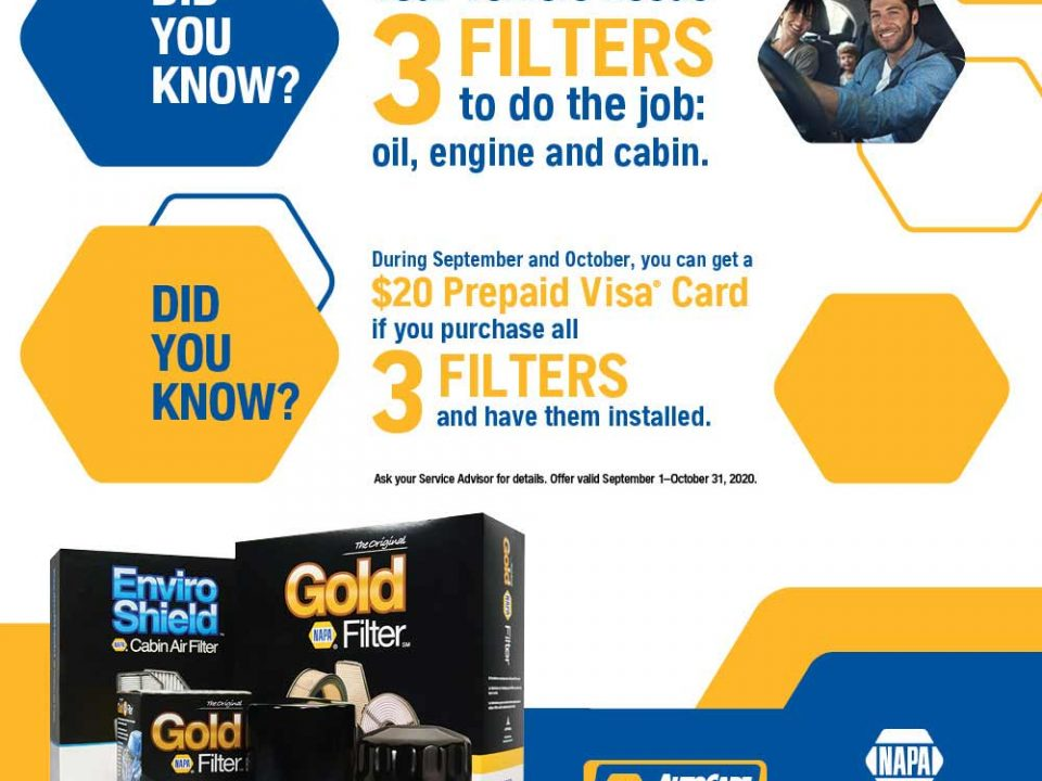 Cabin Filter, Oil Filter, Engine Air Filter