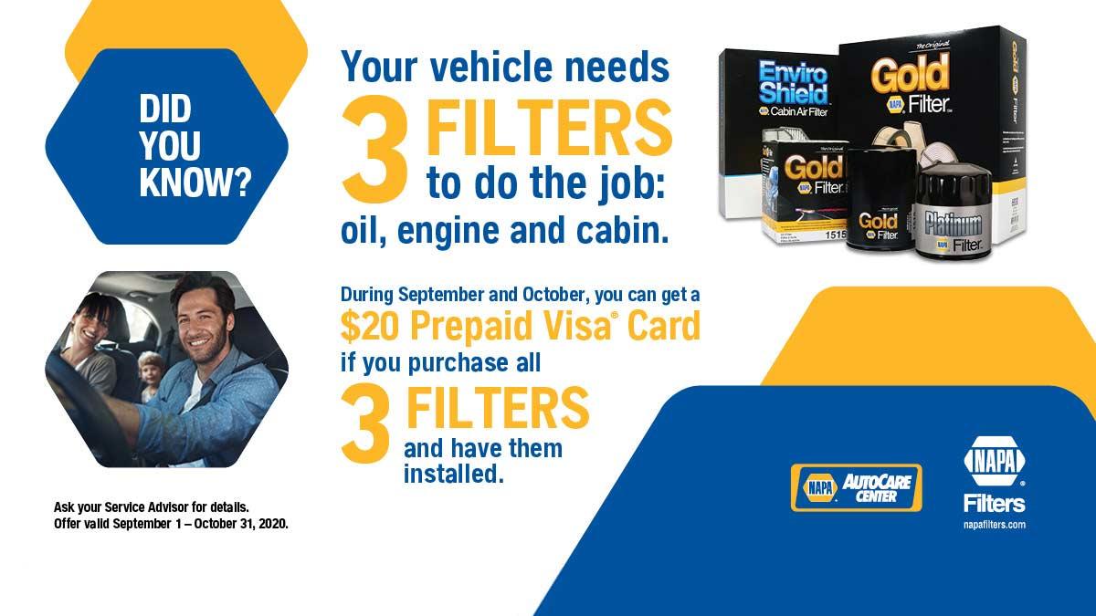 NAPA Oil Filter, Cabin Filter, Air filter