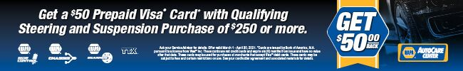 Save $50 on NAPA Steering and Suspension components