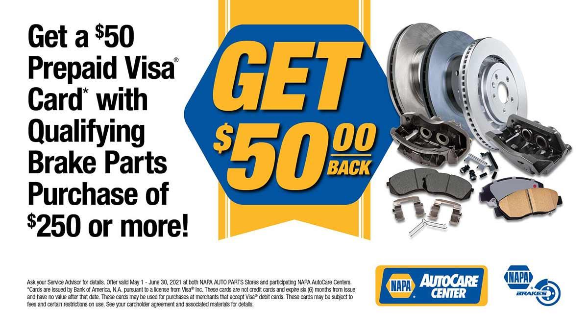 Get $50 Off NAPA Brakes