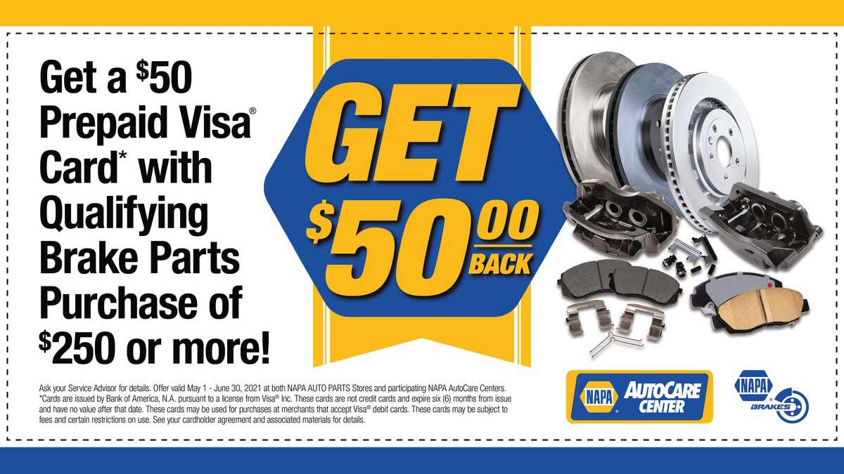 Coupon for $50 of new NAPA Brakes