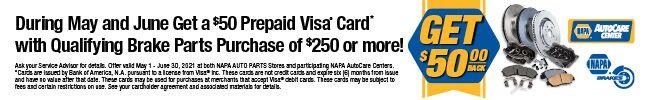 NAPA Brakes - Get $50 back